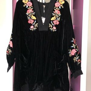 Free People Black Velvet Dress XS